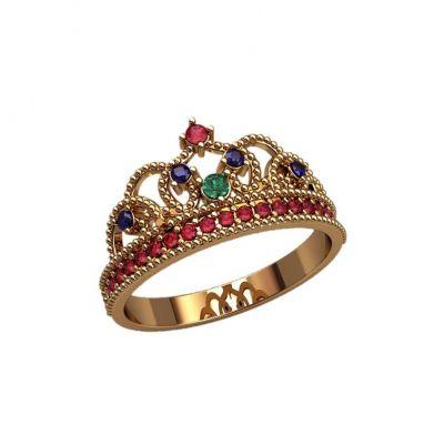 Кольцо в виде короны золотое