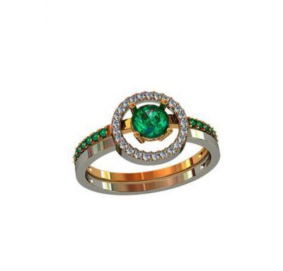Кольцо обычное в камнях