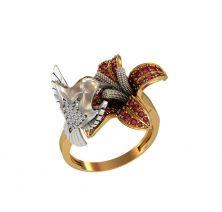 Кольцо птица на цветке