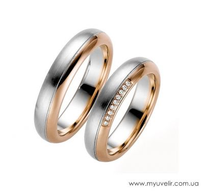 Венчальные кольца классика с камнями