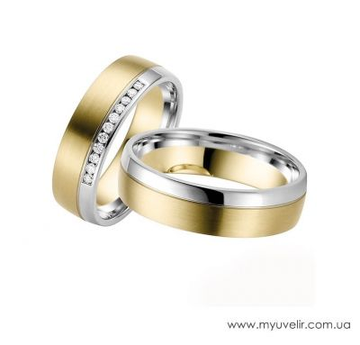 Венчальные кольца классические с камнями