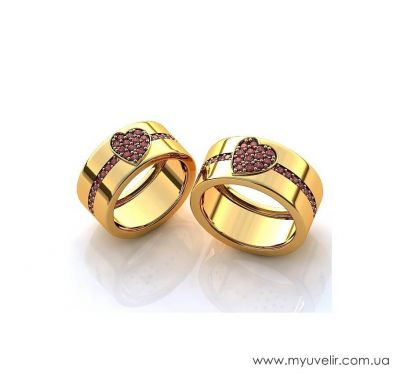 Золотые обручальные кольца сердечки