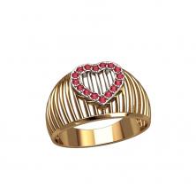 Женское кольцо с сердцем
