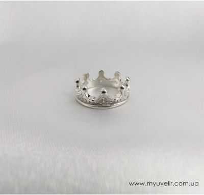 Женское кольцо корона из серебра