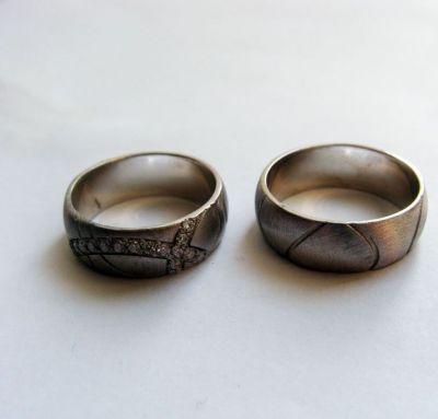 Серебряные обручальные кольца шик