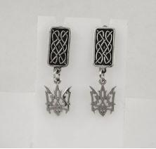 Серебряные серьги герб Украины