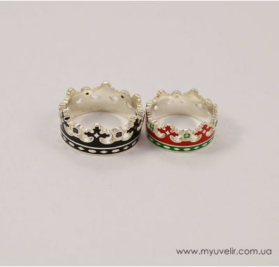 Обручальные кольца короны с эмалью