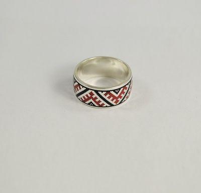 Кольцо с цветной эмалью