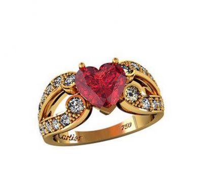 Женское кольцо сердечко