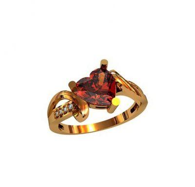 Кольцо сердце золото