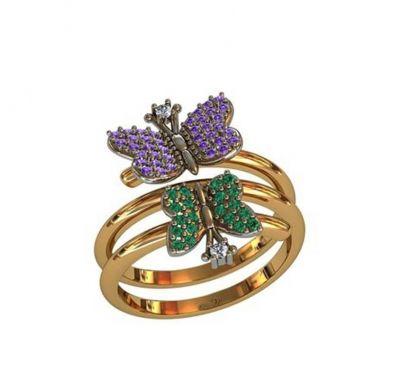 Кольцо бабочка серебро