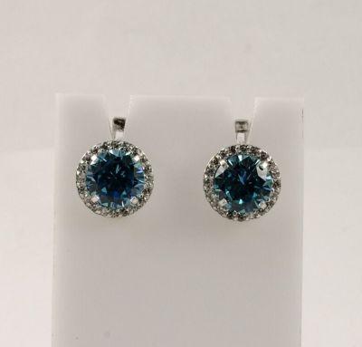 Сережки серебро с голубыми камнями