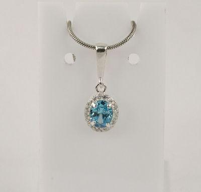Подвеска серебро с голубым камнем