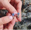 Серебряные серьги с бриллиантами и топазами