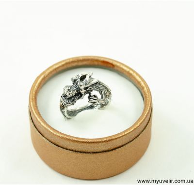 Кольцо дракон из серебра