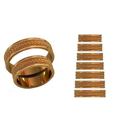 Парные кольца с косичкой