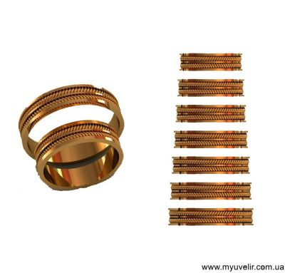 Обручальные кольца две косички