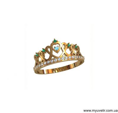 Кольцо корона из золота