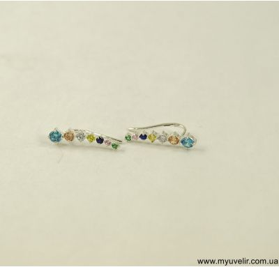 Сережки вдоль мочки уха с цветными камнями